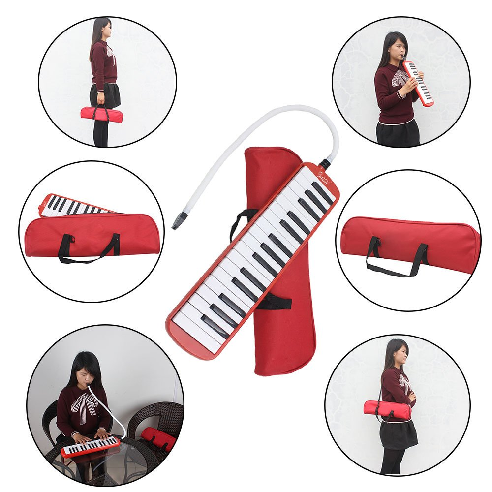 Kuyal 32 Key Melodica, Piano Style Melodica Keyboard, Musical Education Instrument For Music Lovers Beginners And Children With Mouthpiece & Hose & Bag (Red) by Kuyal (Image #4)
