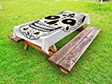 Ambesonne Day of The Dead Outdoor Tablecloth, Dia de Los Muertos Spanish Mexican Festive Hippie Style Print, Decorative Washable Picnic Table Cloth, 58 X 104 inches, Black White and Yellow