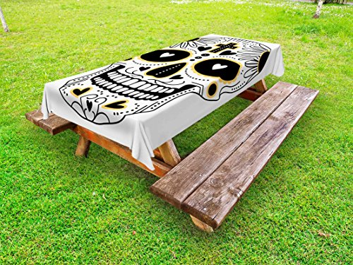Ambesonne Day of The Dead Outdoor Tablecloth, Dia de Los Muertos Spanish Mexican Festive Hippie Style Print, Decorative Washable Picnic Table Cloth, 58 X 104 inches, Black White and Yellow by Ambesonne