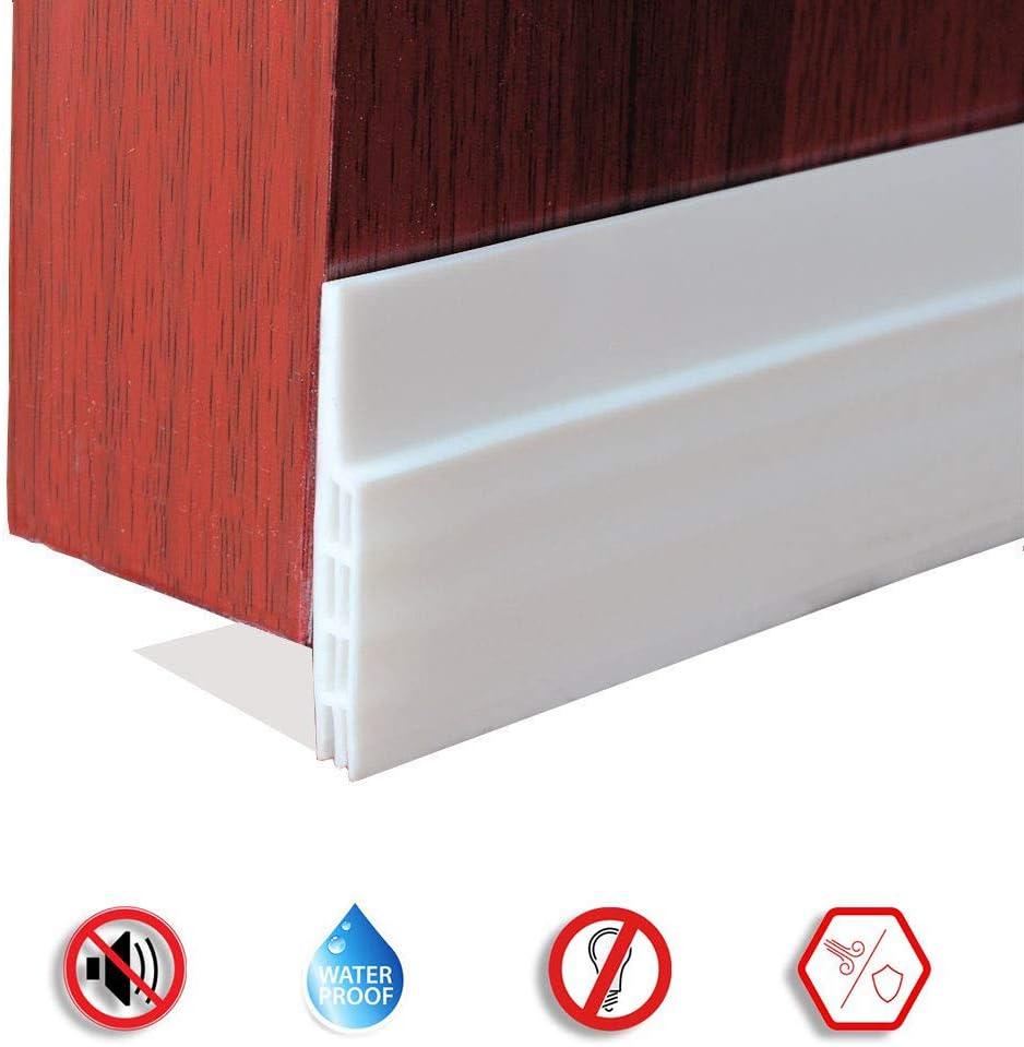 White AnyQoo Door Sweep Door Draft Stopper Under Door Seal for Exterior//Interior Doors Soundproof Door Bottom Weather Stripping Under Door Draft Blocker 2 W x 39 L