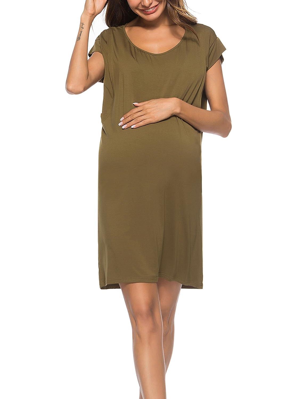 52eb2570c3b40 WOAIVOOU Women s Short Sleeve Maternity Dress Nursing Nightgown  Breastfeeding Dress Sleepwear Army Green XL at Amazon Women s Clothing  store