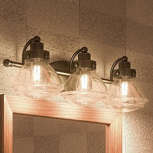 Luxury Transitional Bathroom Vanity Light, Medium Size 8 H x 25 W, with Rustic Style Elements, Oil Rubbed Parisian Bronze Finish and Seeded Schoolhouse Glass, UQL2652 by Urban Ambiance