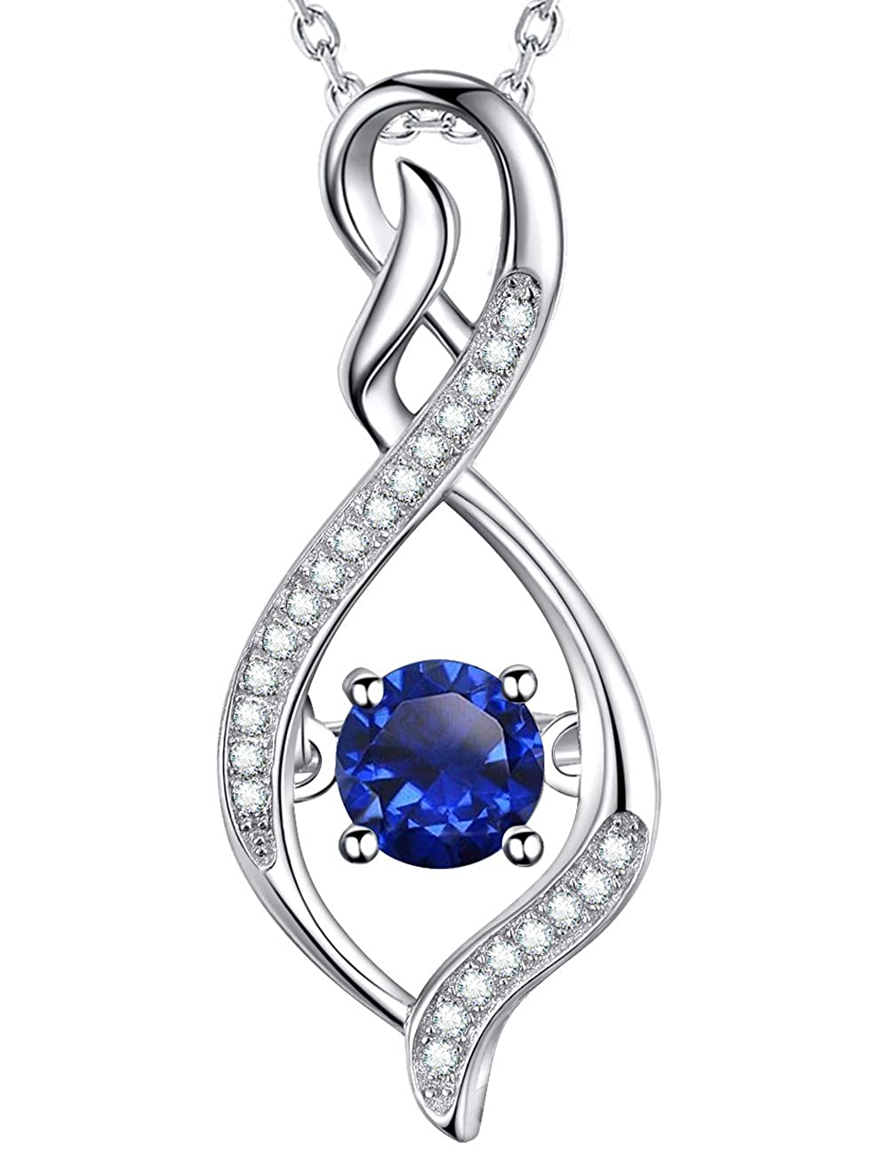 b99d814731aab Elda&Co Blue Sapphire Necklace Love Infinity or Heart Jewelry Sterling  Silver Swarovski Gifts for Women