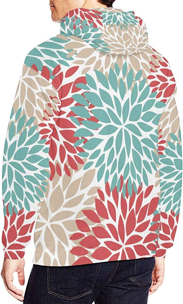 INTERESTPRINT Dahlia Pinnata Flower Beige Blue and Light Red Long-Sleeve All Over Print Mens Hoodie