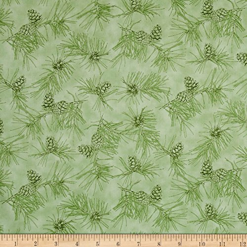 3 Wide Pinecone Light (Quilting Treasures by Water's Edge Pinecone Toile Light Green Fabric by the Yard, Deep Pine Green)