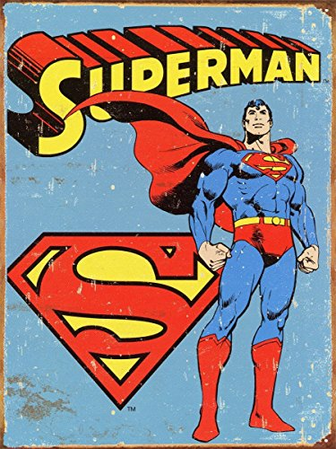 (Vintage Superhero Tin Metal Sign 7.8
