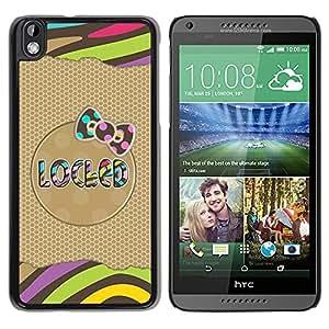 For HTC DESIRE 816 Case , Gold Pattern Bow Text Stripes Polka - Diseño Patrón Teléfono Caso Cubierta Case Bumper Duro Protección Case Cover Funda