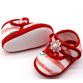 Baby Infant Shoes Girls Stripped Bow