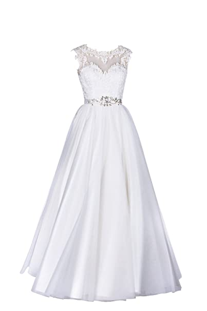 Wedding Dresses Lace A Line Long Affordable Stain Modest