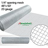 Kyпить 48x50 Hardware Cloth 1/4 inch Square Galvanized Chicken Wire Welded Fence Mesh Roll Raised Garden Bed Plant Supports Poultry Netting Cage Wire Snake Fencing Gopher Proof Racoons Rabbit Pen Window на Amazon.com