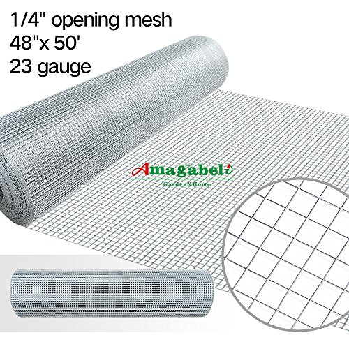 48x50 Hardware Cloth 1/4 inch Square Galvanized Chicken Wire Welded Fence Mesh Roll Raised Garden Bed Plant Supports Poultry Netting Cage Wire Snake Fencing Gopher Proof Racoons Rabbit Pen Window