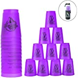 Quick Stacks Cups 12 Pack of Sports Stacking Cups Speed Training Game Challenge Competition Party Toy with Carry Bag (Light Purple)