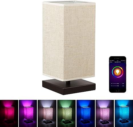 Amazon.com: Alexa - Lámpara de mesa WiFi de madera ...