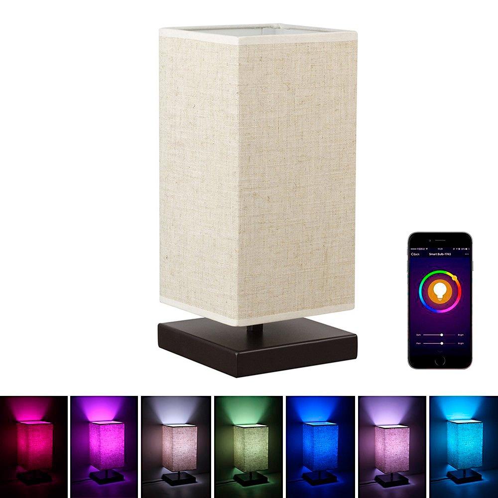 Amazon.com: MLGB Alexa WiFi Smart Wood Table Lamp, Dimmable ...