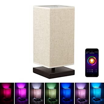 Mlgb Alexa Wifi Smart Wood Table Lamp Dimmable Multicolored Color