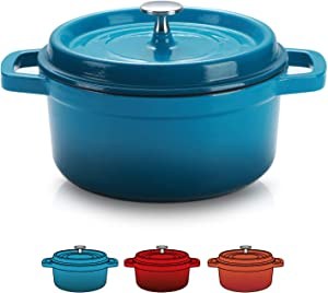 SULIVES Enameled Cast Iron Dutch Oven Bread Baking Pot with Lid,Peacock Blue,6qt