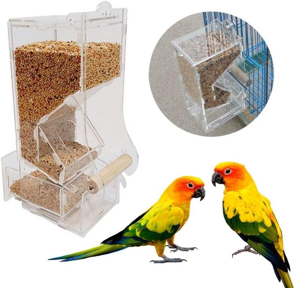 JTKDL Comedero for pájaros Duradero y se desmonta for una Limpieza fácil y rápida Comedero automático for pájaros Comedero for Jaula de pájaros Comedor de Alimentos Loro alimentador