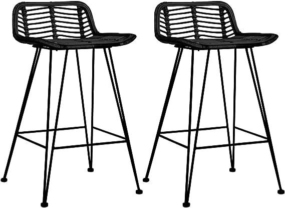 vidaXL 2X Taburetes de Cocina Ratán Casa Hogar Jardín Decoración Diseño Estilo Muebles Banqueta Banquillo Asiento Silín Silla Banco Trona Sillón Negro: Amazon.es: Hogar