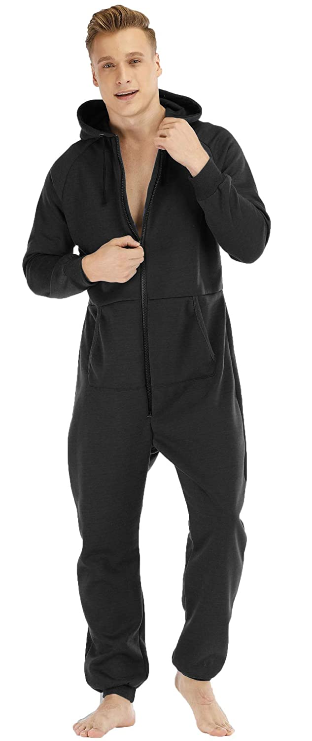 BERDITH Mens Zip Up All in One Hooded Jumpsuit Onesie Pyjamas Pajamas Thermal One Piece Loungewear Nightwear Sleepwear S M L XL XXL