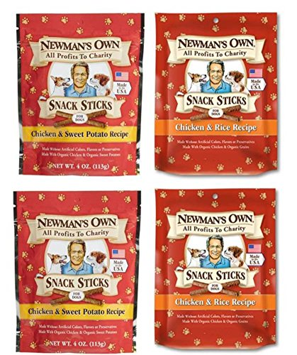 Newman's Own Organic Snack Sticks Dog Treats 2 Flavor 4 Bag Variety Bundle: (2) Newman's Own Chicken & Rice Recipe, and (2) Newman's Own Chicken & Sweet Potato Recipe, 4 Oz. Ea. (4 Bags Total) (Potato Sweet Organic Treats Dog)