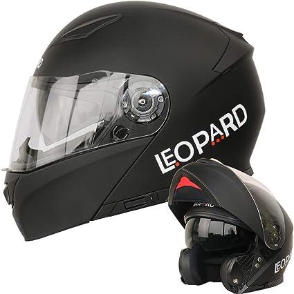 Leopard LEO-888 Casque Moto Modulable Double Visi/ère ECER Homologu/é Homme Femme Noir Mat L 59-60cm