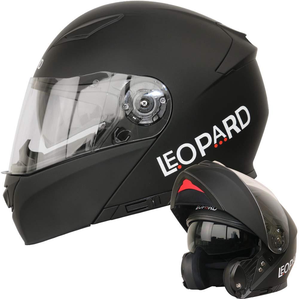 Leopard LEO-888 Doble Visera Casco Moto Modular ECE 22-05 Homologado Blanco L 59-60cm para Motocicleta Bicicleta Scooter Cascos de Moto Modulares Mujer y Hombre