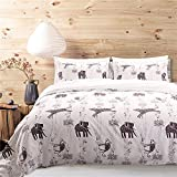 MOVE OVER Kids Bedding White Duvet Cover Set Black Elephant Leopard Printed on White Bedding Set Queen-(90''x90'') One Duvet Cover Two Pillowcases (Queen,Animal World)