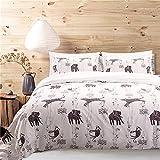 MOVE OVER Kids Bedding White Duvet Cover Set Black Elephant Leopard Printed on White Bedding Set Queen-(90''x90'') One Duvet Cover Two Pillowcases (Queen,Animal World)