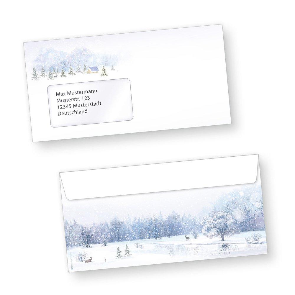 Briefumschläge Weihnachten Weiße Weihnacht 1000 Stück Din lang mit Fenster Fenster Fenster beidseitig bedruckt Winter für Briefe versenden B016Y10AQC | Kostengünstiger  dd5e13