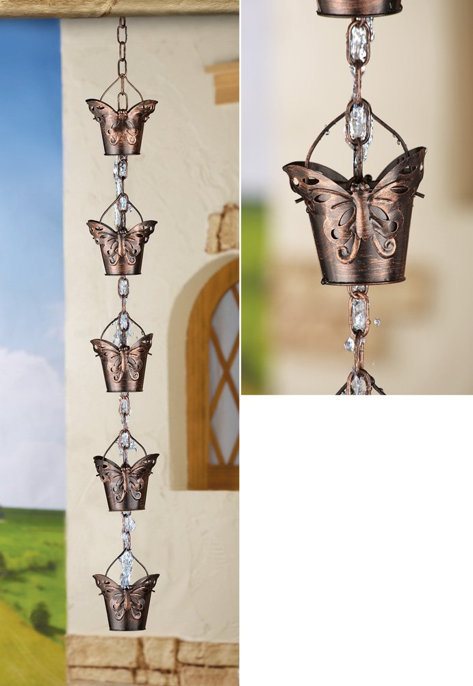 Iron Water Flowing Butterfly Cup Hanging Rain Chain Yard Garden Decoration