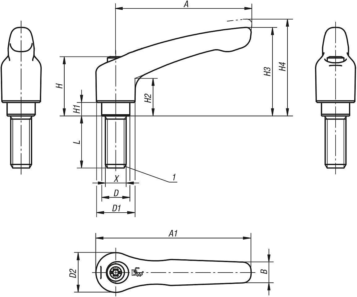 Reinorange RAL2004/ /Size 4//M12/x 50/mm Zinc Hinged Locking Lever/ /Pack of 1/K0123.4122x50