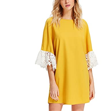 Hangyin Lace Applique Pearl Beading Sleeve Dress Yellow Round Neck Flare  Sleeve Patchwork Short Dress Women Weekend Casual Dress Yellow-L   Amazon.co.uk  ... a8bd88c6f