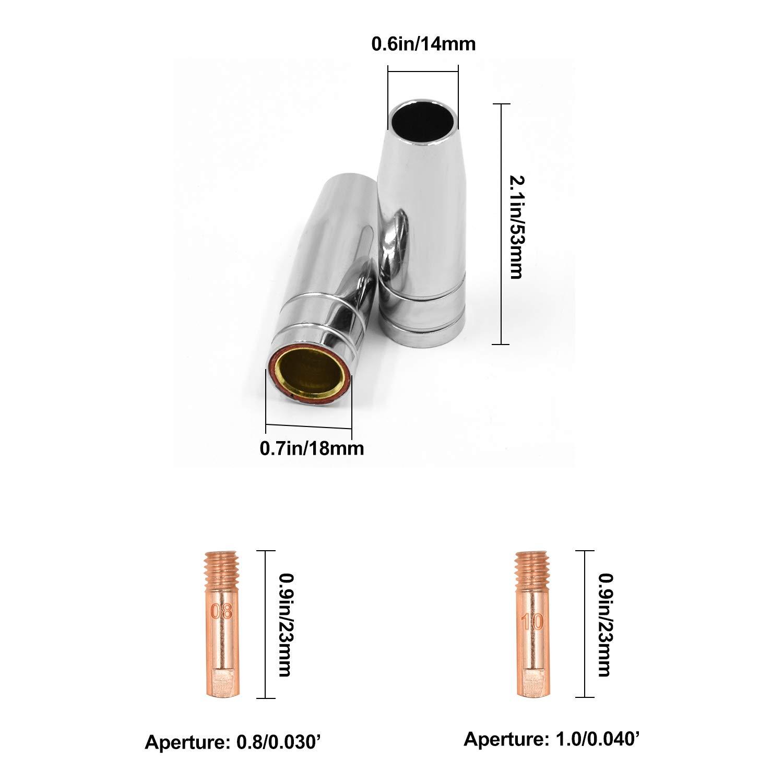 HITBOX Consumables Mig Welding Gun Accessory Kit Contact Tip Nozzles Diffuser