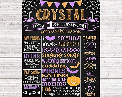 Funlaugh Halloween First Birthday Chalkboard Poster Orange Purple 1St Birthday Boy Or Girl Any Age Printable Digital File Wood Sign Plaque Home Wall Art Decoration Sign Gift