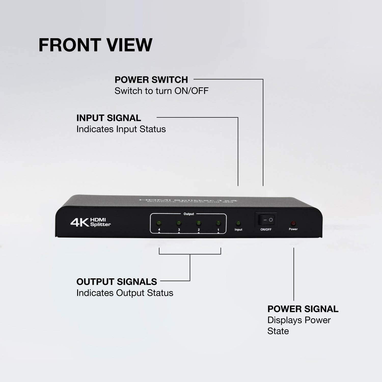 Divisore HDMI 3D 4K 1080P Full HD per Xbox PS4 adattatore di alimentazione Incluso DVR Ozvavzk HDMI Ripartitore 1 in 4 Out PS3 Blu-Ray Lettore CEC HD TV 1/×4 HDMI Splitter 4K DVD One Sky Box