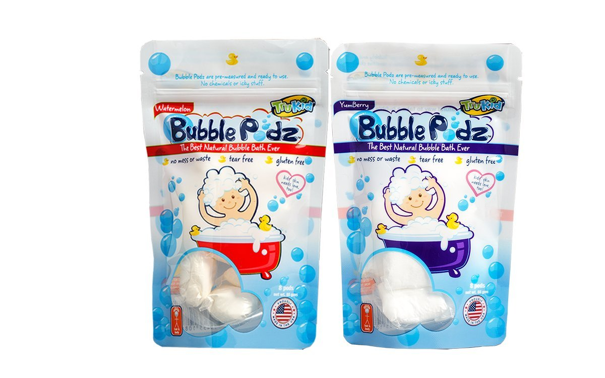 TruKid Bubble Podz, Natural Bubble Bath, YumBerry and Watermelon Combo Pack Safe, sulfate & chemical free, extra gentle bathing for sensitive skin. TK90027 (2 x 8 count)