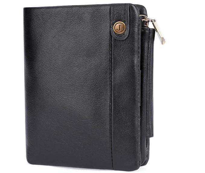RFID Men Leather Zipper Wallet Zip Around Wallet Bifold Multi Card Holder Purse