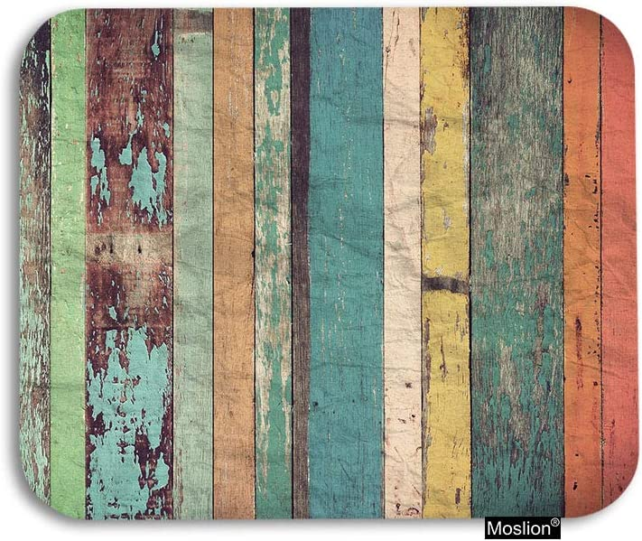 Moslion Wood Mouse Pad Vintage Plank Wooden Stripes Lines Gaming Mouse Pad Rubber Large Mousepad for Computer Desk Laptop Office Work 7.9x9.5 Inch