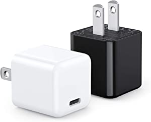 USB C Charger, WEMISS 2-Pack Mini 20W iPhone 12 Fast Type C Wall Charger with PD 3.0, Durable Compact USB-C Power Adapter for iPhone 12/12 Pro Max, MagSafe Duo, 11 Pro Max, Galaxy S10 (White+Black)