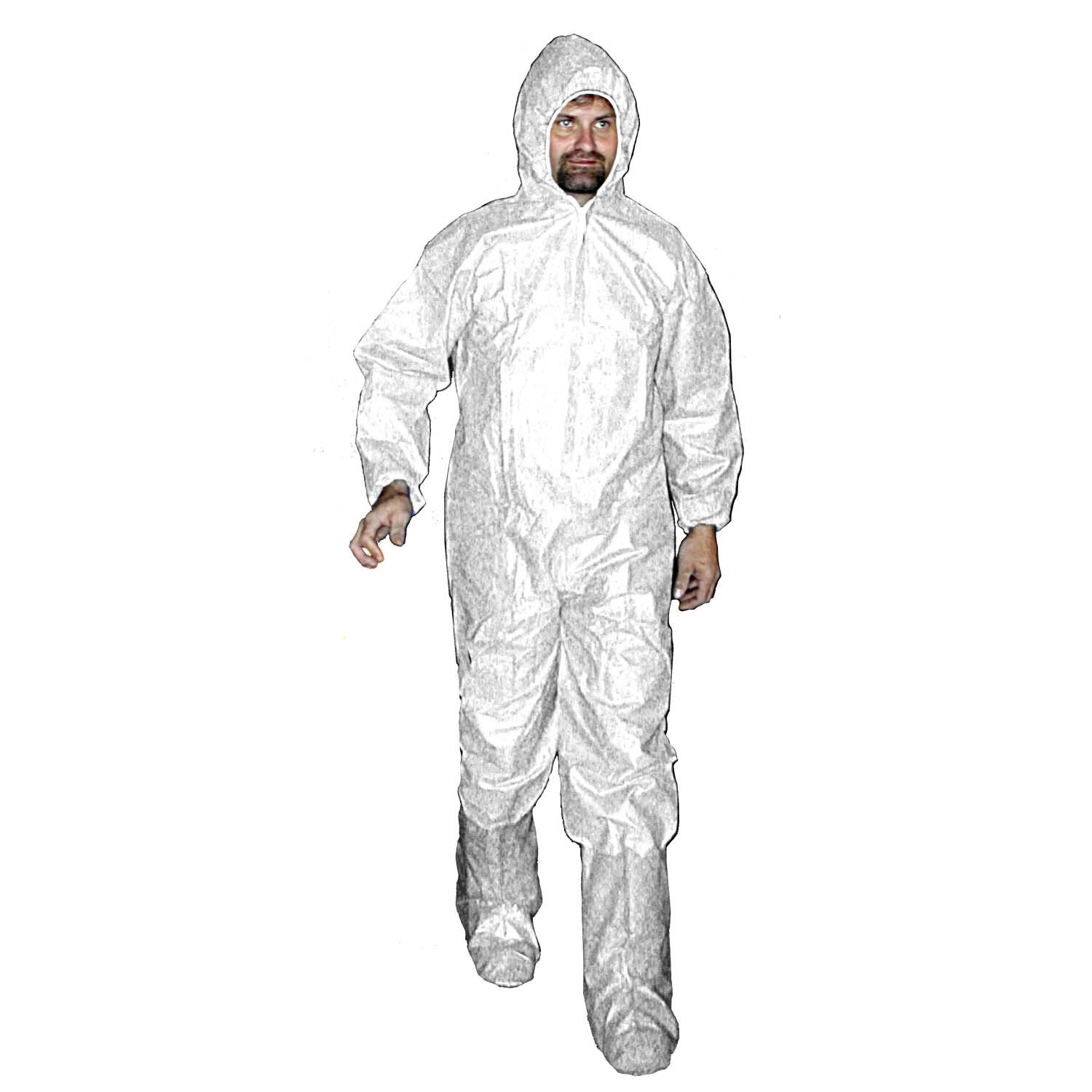 Enviroguard Polypropylene Coverall with Attached Hood and Boots, Disposable, Elastic Wrists, White, Medium, 45 gram (Case of 25)