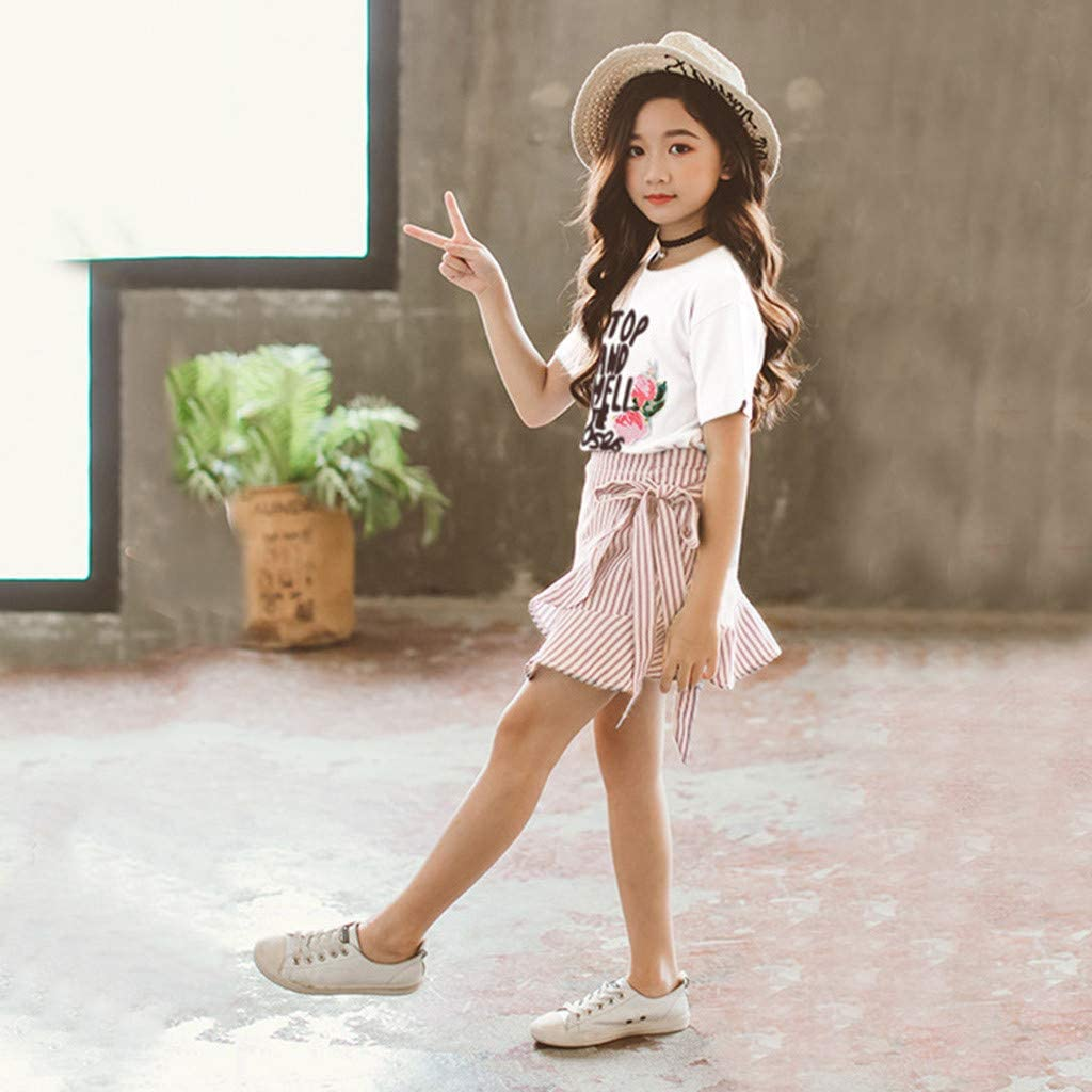 Teen Girls Letter Roses Short Sleeve T Shirt Tops Falbala Dress Skirt Set Baby Clothing Set 0-10 Years Old Girls Outfits Set