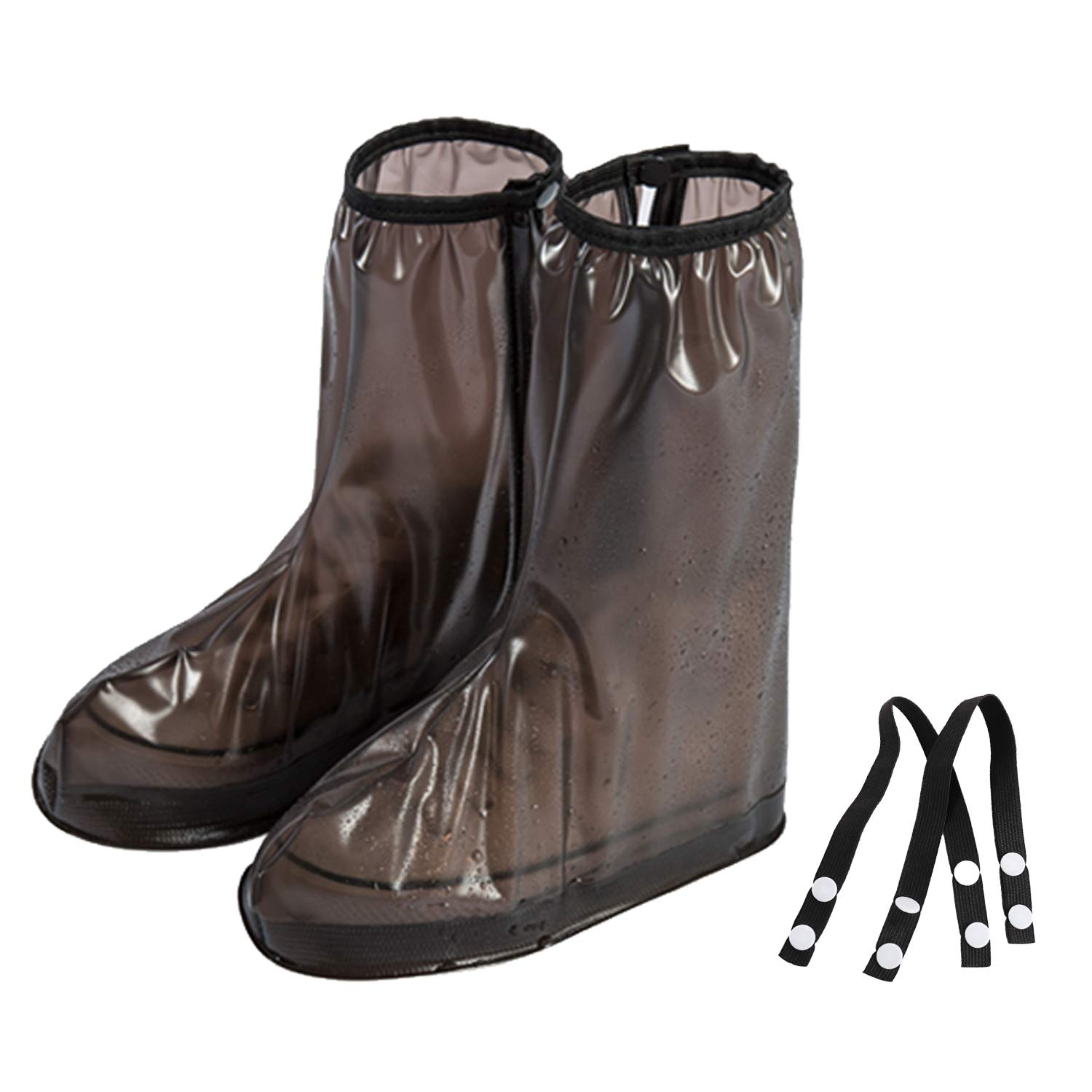 Brown Rain Shoe Covers Waterproof Boot Cover With Side Zipper Motorcycle Rain Boot Covers Reusable Man 3.5-4 Women 5-5.5 (S)