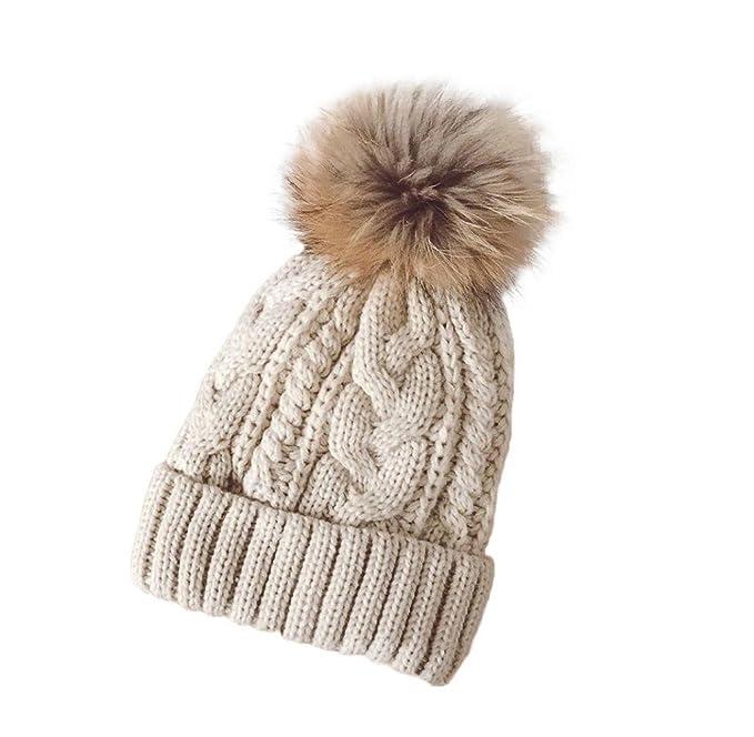 a772f11fdc41d Tongshi Las mujeres invierno Crochet sombrero piel Cannabis lana Knit gorro  mapache caliente (Beige)