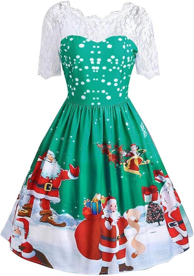 Damen Kleid Damen Abend Herbst Bedruckt Weihnachten Mode Kleid Cocktail Swing