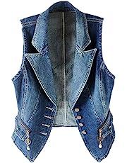 Kedera Women's Lapel Washed Denim Vest Button Up Waistcoat Jacket