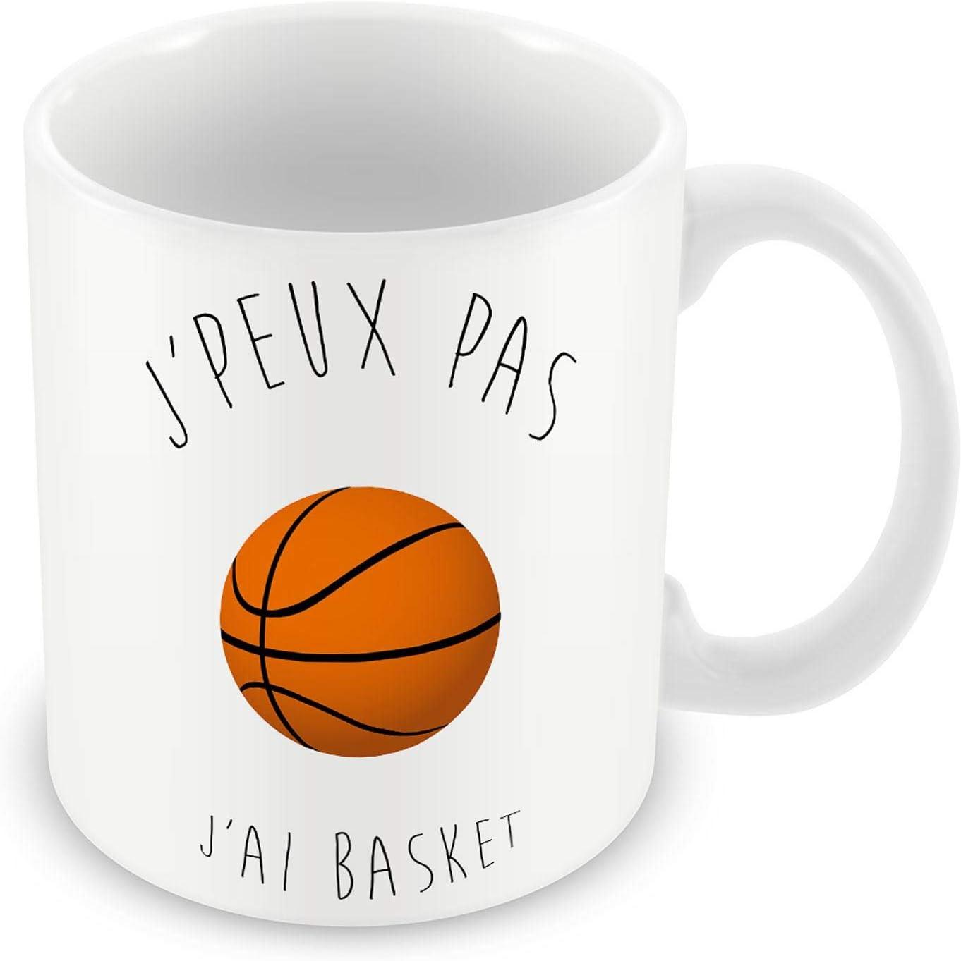 Mug Céramique Tasse J'Peux Pas J'Ai Basket Ballon de Basket Ball Humour Rigolo Fun