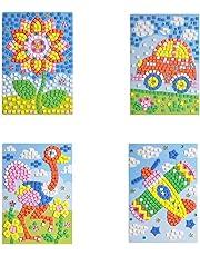 Mosaic Sticker Art Sticky DIY Handmade Art Kits for Kids Puzzle Sticker Educational Toy-Flower, car, Flower Ostrich, Plane Pattern (1set) HN0004A--4D