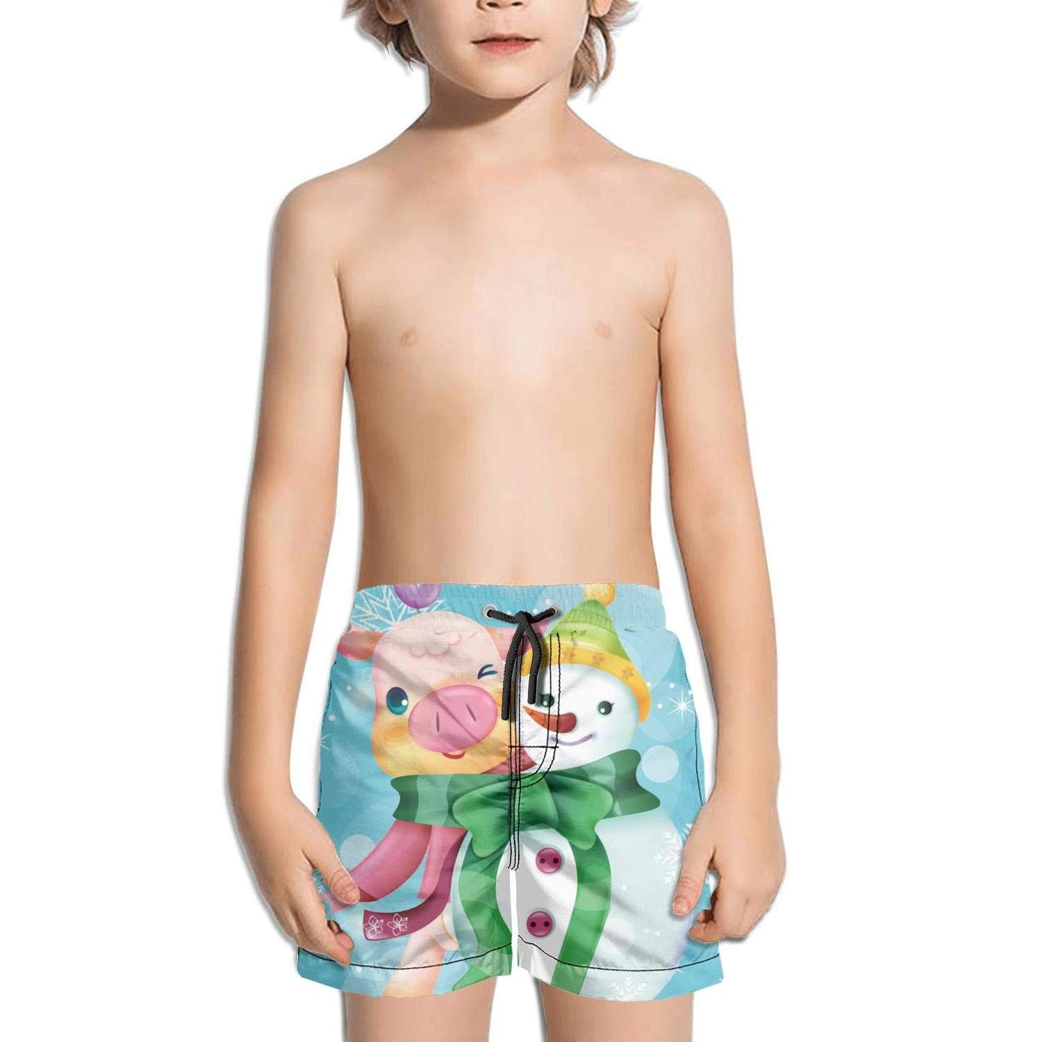 Boys Summer Casual Swimming Shorts Cute Magical narwhal Beach Board Shorts