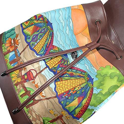 Multicolor Talla Bolso De Para Dragonswordlinsu Mochila Mujer Única Piel wFZq0EYxH