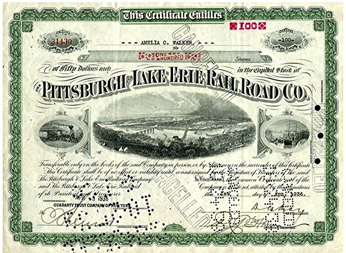 1935 RARE ORIGINAL PITTSBURGH LAKE ERIE RAILROAD SHARE CERTIFICATE w 3 BRIDGES, OLD TRAIN Varies ()